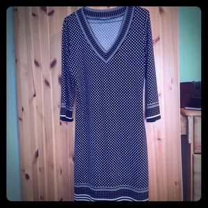 Max Studio Knee Length, 3/4 Sleeve Dotted Dress